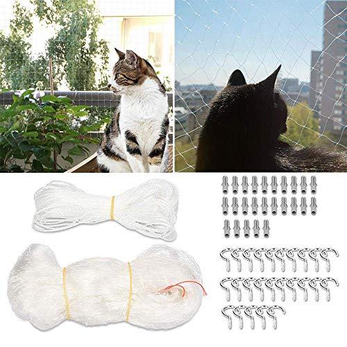 leegoal Katzennetz für Balkon und Fenster, 8 x 3m Transparent Katzenschutz-Netz mit 25m Befestigungsseil, Haken und Passstiften für Katzen zur Absicherung von Balkon, Terrasse, Fenster und Türen