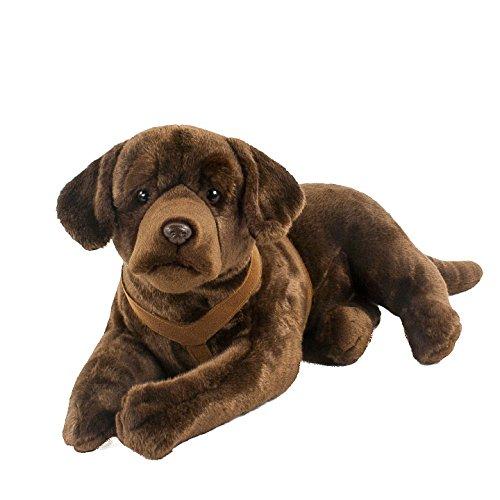 Teddys Rothenburg Kuscheltier Labrador mit Geschirr liegend braun 70 cm Plüschlabrador Plüschhund