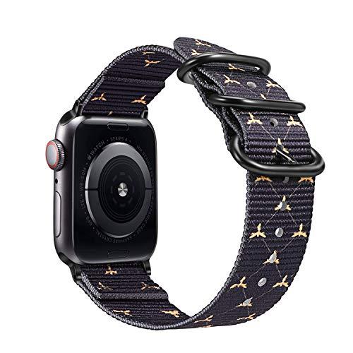 FINTIE Cinturino Compatible con Watch 44mm 42mm Series 5 4 3 2 1, Nylon Tessuto Sport Regolabile Band con Fibbia Metallica Cinturini di Ricambio Accessori, Bees