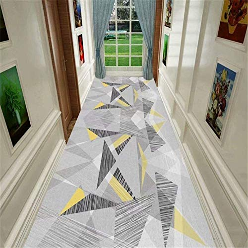 Grau Dreieck Patchwork Teppiche Küche/Treppen/Hotel Griffige Vorleger Startseite Lange Bodenmatten Frei Cut leicht zu reinigen Größe: 120x100cm Hall Rugs (Size : 100x400cm)
