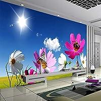 xueshao 壁画壁紙青空白い雲サンシャイン花壁画リビングルーム壁装