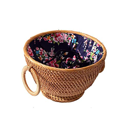 JIAJBG Child Candy Storage Basket Rattan Carrying Basket Cereal Bowls Fruit Nut Storage Hamper Restaurant Decorative Basket Plant Flower Basket Lined Market Basket
