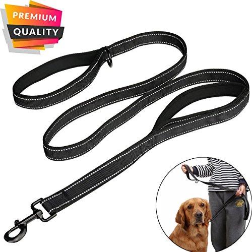MEKEET Hundeleine Hundeführleine mit Bequemen Gepolsterten Griff 1,8m Reflexnähte Trainingsleine für mittelgroße große Hunde (Schwarz)