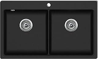 vidaXL Granitspüle 860x510mm Doppelbecken Einbauspüle Küchenspüle Spülbecken