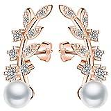 Unendlich U-Elegante Pendientes Trepadores Color Oro Rosa Plata 925 Pendientes Perla Forma en Hojas Idea Regalo para Madre y Novia