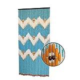 Cortina para Puerta de Bambú Natural, en Color Azul, Naranja y Beige. Sostenible, exenta de plástico 90cm X 185cm - Hogar y Más