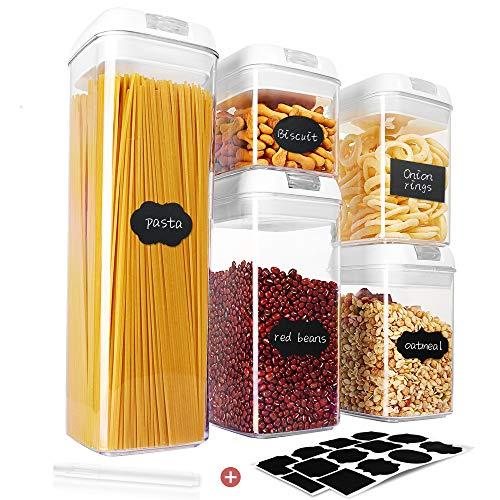 Qissep 5 Stück Vorratsdosen Set, Luftdicht Vorratsdosen & Frischhaltedosen Set BPA Frei, Frischhaltedosen mit Deckel 20 Etiketten 5.2L für Küche Bad