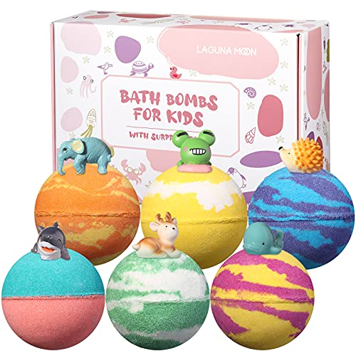 Lagunamoon Bath Bombs for Kids with Toys Inside, 6PCS Natural Fizzies, Cruelty Free, Vegan Safe Bath Bombs Gift Set for All Skin Types Even Sensitive Skin, Releases Color, Scent, Bubbles