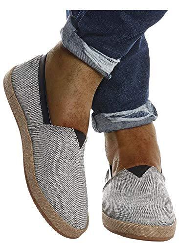Leif Nelson Herren Espadrilles Schuhe für Freizeit Urlaub Freizeitschuhe für Sommer Flache Männer Sommerschuhe Sneaker Weiße Schuhe für Jungen Slipper LN200; 41, Grau