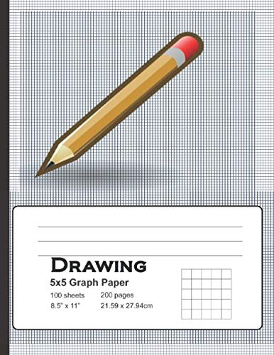 Drawing Graph Paper: 5x5 Graph Paper, 100 Sheets, Notebook|8.5 x 11|100 pages