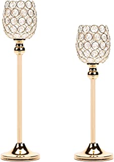 Manvi Gold Crystal Candle Holders Set of 2, Candlestick Holders Centerpieces for Wedding Table Dining Room Table, Christmas Thanksgiving Gifts