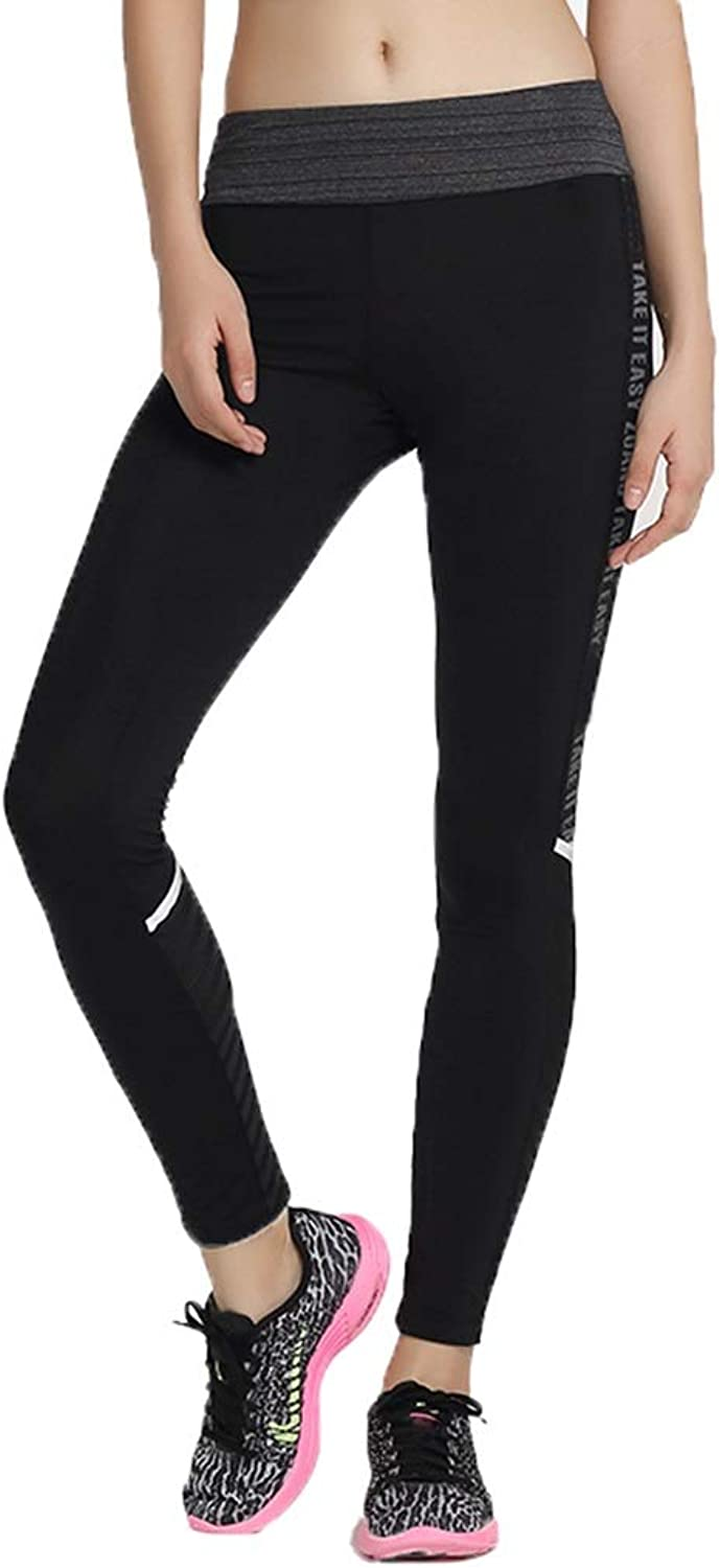 Tracksuits Elastic Yoga Fitness Long Leggings in high Waist Breathable Moisture Wicking Running Tight Pants TightFitting Leg Type Marathon Breathable (color   Black, Size   L)