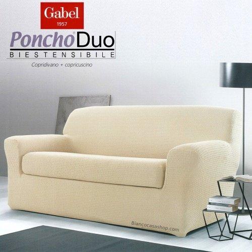 ROMA DUO Copridivano 2 POSTI con copricuscino Gabel Poncho Duo biestendibile Art VAR. 520 Beige