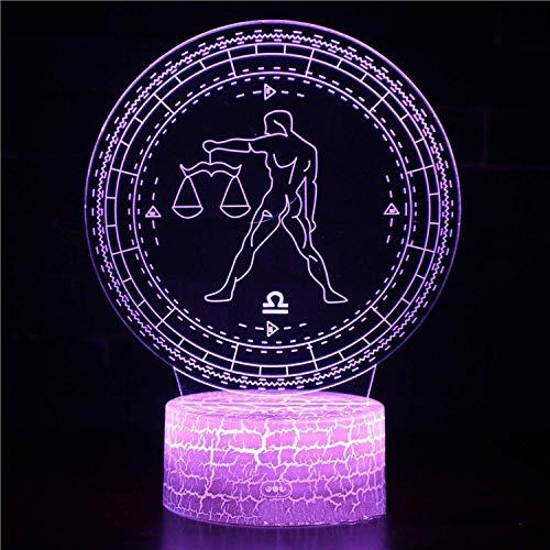 CYJQT 16 Farben Nachtlicht, Bluetooth Lautsprecher, Uhren, Sternbild Waage, 3D Nachtlampe Licht für Kinder 16 LED Farbwechsel Touch Tisch Schreibtischlampen Cool Toys Geschenke Geburtstag Weihnachtsde