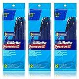 Gillette Sensor2 Men's Disposable Razor, 12 Count (Pack of 3)