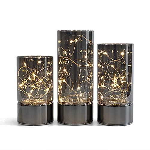 3er-Set Glaszylinderlaternen mit Lichterkette, flammenlose Kerze mit Timerfunktion.