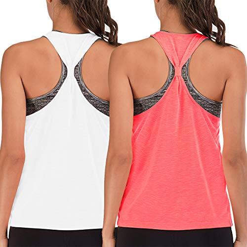 FAFAIR - Camiseta de entrenamiento para mujer, con sujetador integrado, espalda cruzada floja, chaleco deportivo para gimnasio, running y camiseta blanca y coral S