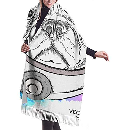H.D. Bufanda de invierno de cachemira Feel con diseño de perro astronautas disfraz del espacio pañuelos de caracteres, suave y cálido, para mujer