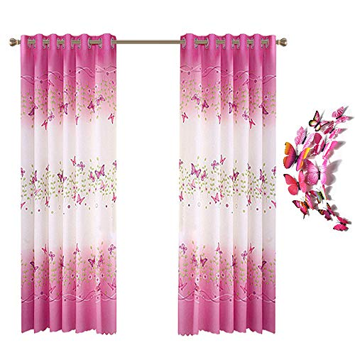 Lovehut Butterfly Flowers Printed Curtains for Girls Room,Semi-Blackout Window Curtain Panels with 3D Butterflies Grommet Window Drapes for Kids Girls Bedroom Living Room - 39 x 78 Inch, 2 Panels