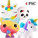 Blesser 4 PSC Kawaii Squishy Chat Squishy Licorne Squishy Panda Squishy Donut Licorne Jouet pour Enfants Fille Garçon, Kit Anti Stress Squishy Pas Cher Slowing Rising Toy Cadeau Anniversaire