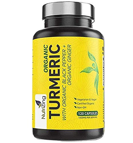 Curcumina de cúrcuma orgánica 1420mg - Potencia superior, pureza certificada - con pimienta negra y jengibre - 120 cápsulas veganas de cúrcuma de alta resistencia - Hecho en UE por NutriZing