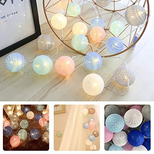 Lichterkette Cotton Ball, Kwode Cotton bälle Kette mit Batteriebetrieben, 3.5M 20er LED Kugel Light für Innen Mädchen Teenager Baby Zimmer Deko Terrasse Weihnachten Hochzeit Party (4cm akku Bunt)