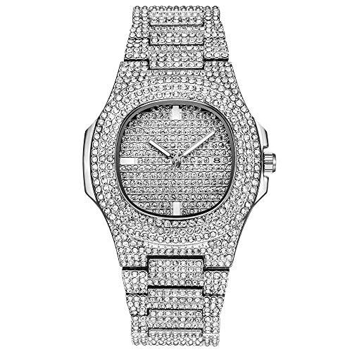Frauen Uhr, Yuwegr Damen Armbanduhr Mode Elegant Leder Band Legierung Strass Keramik Kristall Quarz Analoge Damenuhr (Silber)