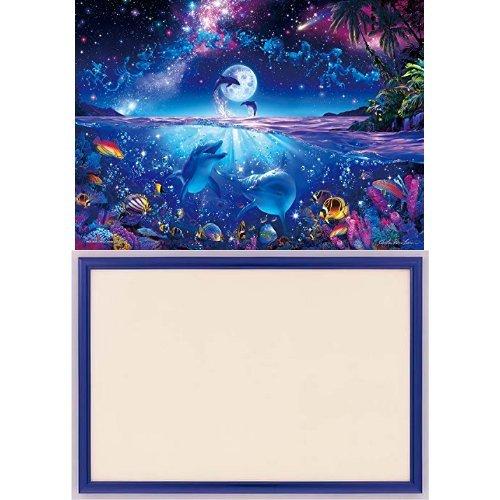 2000ピース ジグソーパズル パズルの超達人EX ラッセン 星に願いを スーパースモールピース 【光るパズル】(38x53cm)+木製パズルフレーム ウッディーパネルエクセレント シャインブルー (38x53cm)