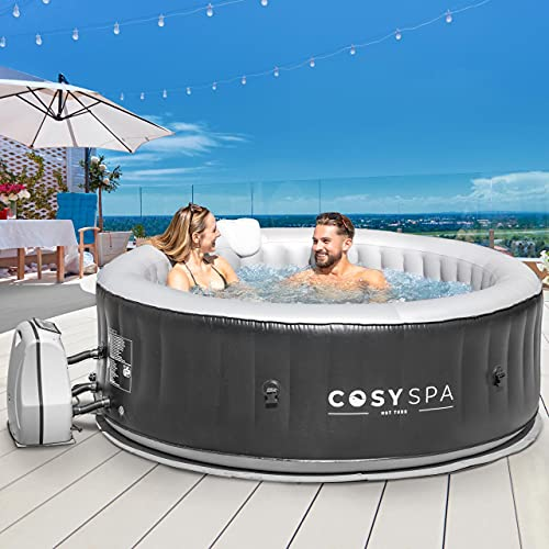 CosySpa Inflatable Hot Tub Spa – Outdoor Bubble | 2-6 Person Capacity – Quick Heating | NEW 2021 Model (Hot Tub Only - 4 Person)