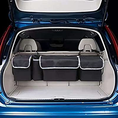Car Back Seat Trunk Storage Organizer, Car Foldable Hanging Organizer Seat Back Cargo Storage with Adjustable Straps for SUV, Truck, MPV, Van