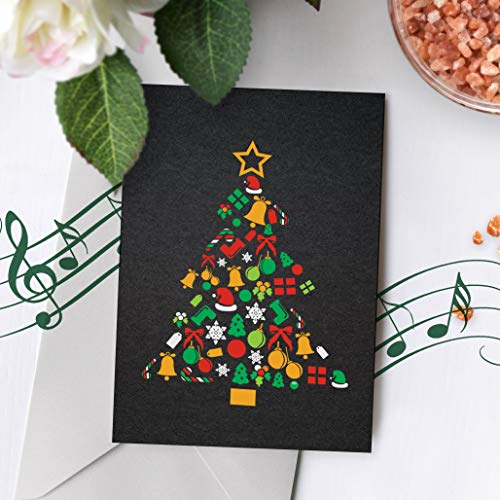 Merry Christmas Card With Music | Black Christmas Card, Christmas Tree Card, Christmas Card, Recordable Christmas Card 00001 (120 Second Recordable)