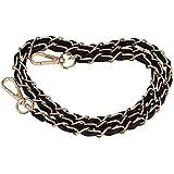 POFET - Cinturino a catena con cinturino in pelle nera di ricambio per borsa da sera, borsa a tracolla, borsa a tracolla, borsa fai da te, 150 cm