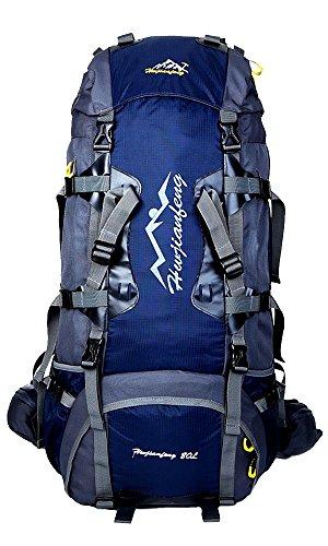 hwjianfeng Homme Femme Backpacker, étanche randonnée sacs dos de trekking 7 couleurs en option, 80 x 38 x 25 cm, 80 L, bleu marine