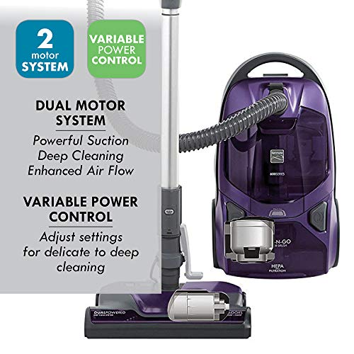 Kenmore Elite 600 Series Friendly Lightweight Bagged Canister Vacuum with Pet PowerMate, Pop-N-Go Brush, 2 Motors, HEPA, Aluminum Telescoping Wand, Retractable Cord and 3 Cleaning Tools, Purple