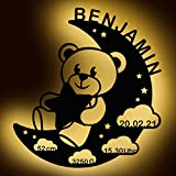 LAUBLUST Schlummerlicht Bär im Mond - Personalisiertes Baby-Geschenk zur Geburt & Taufe - LED Beleuchtung | Natur