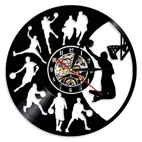 YUN Clock Basketball Bewegung Wanduhr Aus Vinyl Schallplattenuhr 3D Familien Dekoration Upcycling Design-Uhr Wohnzimmer Schlafzimmer Restaurant Wand-Deko Ø: 30 cm