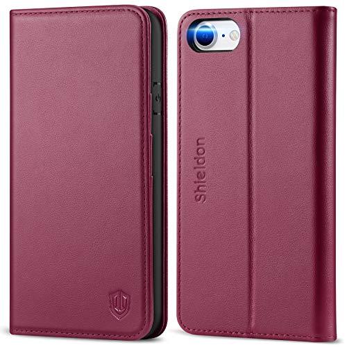SHIELDON iPhone SE 2020 Hülle, iPhone 8 Lederhülle [100% Echtleder] [Schützt vor Stoß] [Kartenfach] [Standfunktion], Klappbare Schutzhülle Handytasche Etui Kompatibel für iPhone 7/8/SE2 4,7 Rotviolett