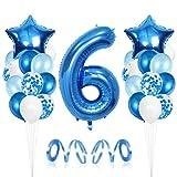 """❤ Exquise 6er anniversaire Décoration: Comprend des ballons en aluminium bleu avec le numéro """"6"""", 24 ballons en latex de 12 pouces (6x bleu, 6x bleu clair, 6x blanc, 6x confettis), 2 Ballons Feuille Étoile de 18 pouces colorées bleues, 2x bleu rubans..."""