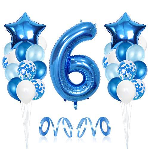 Bluelves Luftballon 6. Geburtstag Blau, Geburtstagsdeko Jungen 6 Jahr, Happy Birthday Folienballon, Deko 6 Geburtstag Junge, Riesen Folienballon Zahl 6, Ballon 6 Deko zum Geburtstag