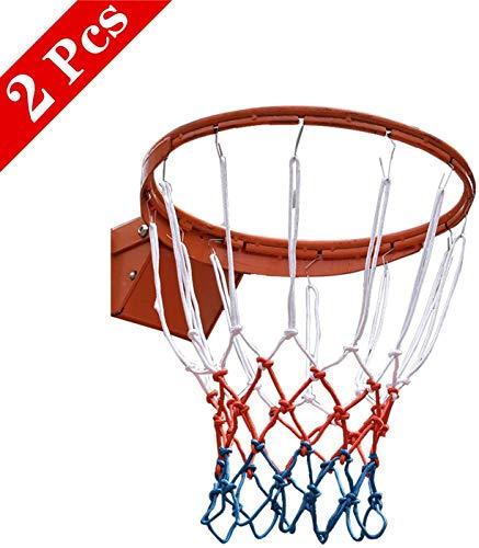 SANTOO 2 Stück Basketballnetz, Basketball Ersatz Netz, Dauerhaft Ballnetz Für 12 Schlaufen Standard Größe BasketballKorb Outdoor Indoor