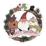 NLRHH Weihnachten Sackleinenkranz Fronttür Dekor - Weihnachtsmann-Weihnachtsbaum Anhänger - Urlaub auf Indoor Outdoor, a Peng (Color : A)