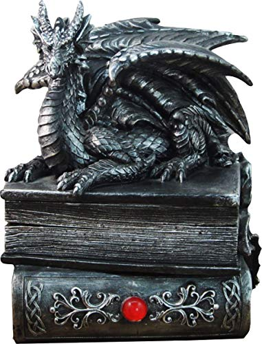DWK 8' Guardian of Bibliophiles Decorative Medieval Gothic Dragon Trinket Stash Box Statue with Magical Hidden Book Secret Storage Compartment for Fantasy Home Decor