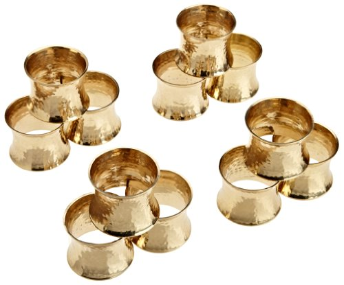 DII Basic Everyday Napkin Rings for Place Settings, Wedding Receptions, Dinner or Holiday Parties, & Family Gatherings (Set of 12), Hammered Gold