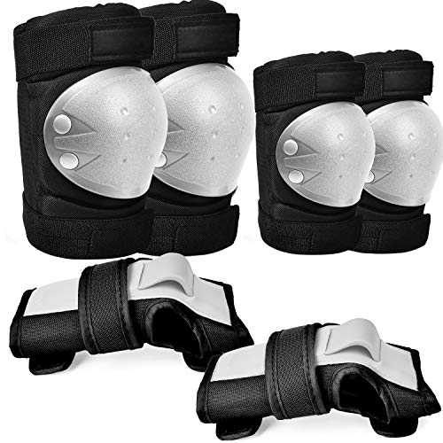 Adult/Children Knee Pads, 6-in-1Protective Gear Set, Elbow Pads Guards for Cycling, Skateboarding, Rollerblading, Scootering, Adjustable Wrist Guards for Multi-Sports Outdoor for kids/Adults/Teenagers
