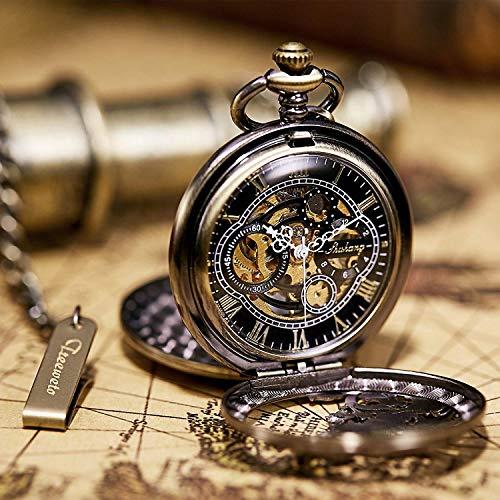 『TREEWETO 機械式 手巻き 懐中時計 両面蓋 龍透かし ローマ数字 ブロンズ スケルトン チェーン 付き』の6枚目の画像