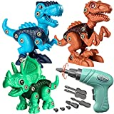 Coogam Take Apart Dinosaur Construction Toys 3 Pack, Fine Motor Skill Building Dinos Set STEM Educational Gift Game with Electric Drill-Tyrannosaurus, Triceratops, Velociraptor for 3 4 5 Year Old