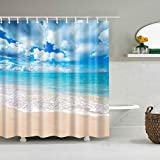 Boyouth Sky Blue by The Sea Pattern Digital Print Shower Curtains for Bathroom Decor,Polyester Waterproof Fabric Bath Curtain with 12 Hooks,70x70 Inches,Multicolor