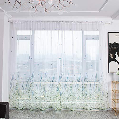 Hunpta @ 2 Stück Voile Vorhang mit Tunneldurchzug Stiefmütterchen Transparent Gardine Wohnzimmer Schlafzimmer Fenstervorhang Fenster Dekor, 100 x 200cm