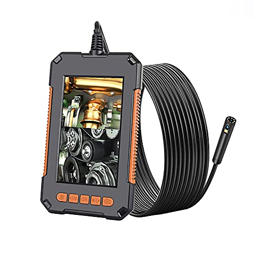 Kilcvt Endoscopio Industrial, 1080P HD 4.3 '' Pantalla Cámara De Inspección De Doble Lente Profesional, Cámara De Mano IP67 Snake con 8 LED, para reparación de automóviles,2m
