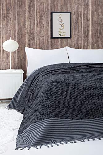 Belle Living Atil Tagesdecke Überwurf Decke - Wohndecke hochwertig - perfekt für Bett & Sofa, 100prozent Baumwolle - handgefertigte Fransen, 200x250cm (Schwarz)